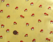HTF Heather Ross fabric FQ, Lightning Bugs Mushrooms on yellow - Out of print RARE destash fabric, fat quarter