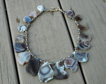 Botswana Agate Slice Statement Necklace - Gray, White, Brown