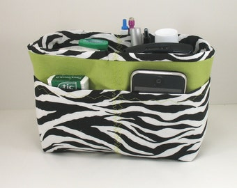 Purse Organizer Insert -Black and White Zebra - Small size pictured - Choose lining color