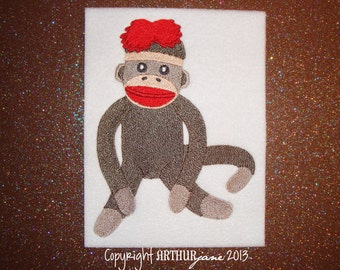 Sock Monkey 4, INSTANT DIGITAL DOWNLOAD, Embroidery Design for Machine Embroidery 5x7