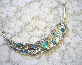 Aqua Feather Pendant And Necklace