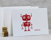 Robot Geekery Letterpress Folded Note Card Set Modern Cute Illustration Hello Ruby Red, Garnet Red (Set of 3)