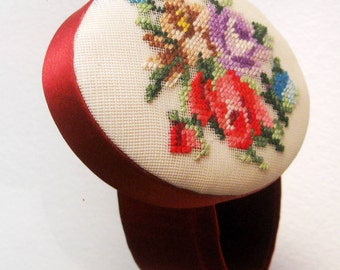 Vintage Trinket Box Petit Point Floral Embroidered Needlepoint Satin