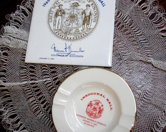 Vintage Governor Warren Knowles Souvenirs Political Ashtray Trivet Inaugural Ball Wisconsin 1965 1969