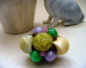 Vintage Easter Brooch Upcycled gift Lilac Pink Chartruese Chunky Rockabilly