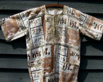 Vintage Tribal Shirt, REDUCED Unisex Ex Lrg, Handmade, Pristine Black Beige Copper African Drama, Baskets Hunters Drums Dancers, Ethnic Boho