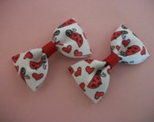 Valentine Love Bug  Bow Tie Hair Bow Set of Two