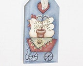 Handpainted Wooden Chicken Tag, Basket Tie-On
