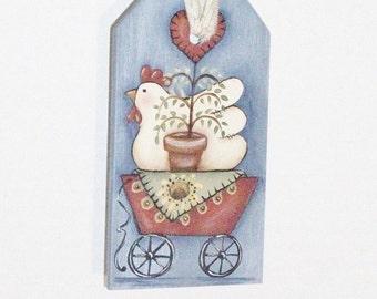 Handpainted Wooden Chicken Tag, Basket Tie-On