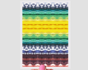 Rainbow Waves Print Greeting Card