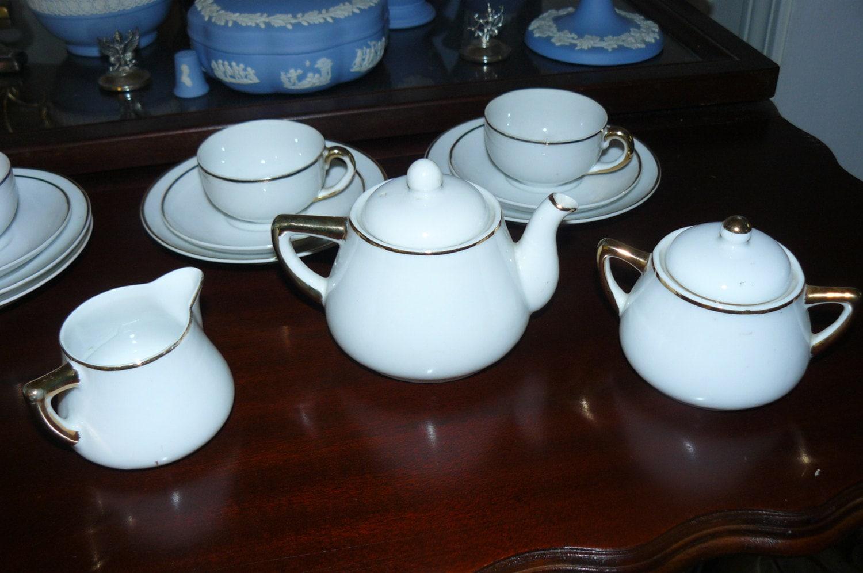 Vintage Childrens China Tea Set Meito China Japan Gold Wedding