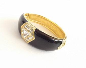 Vintage Bracelet Black Rhinestone SAL Swarovski Designer Signed Hinged Dressy Formal Fine Costume Jewelry