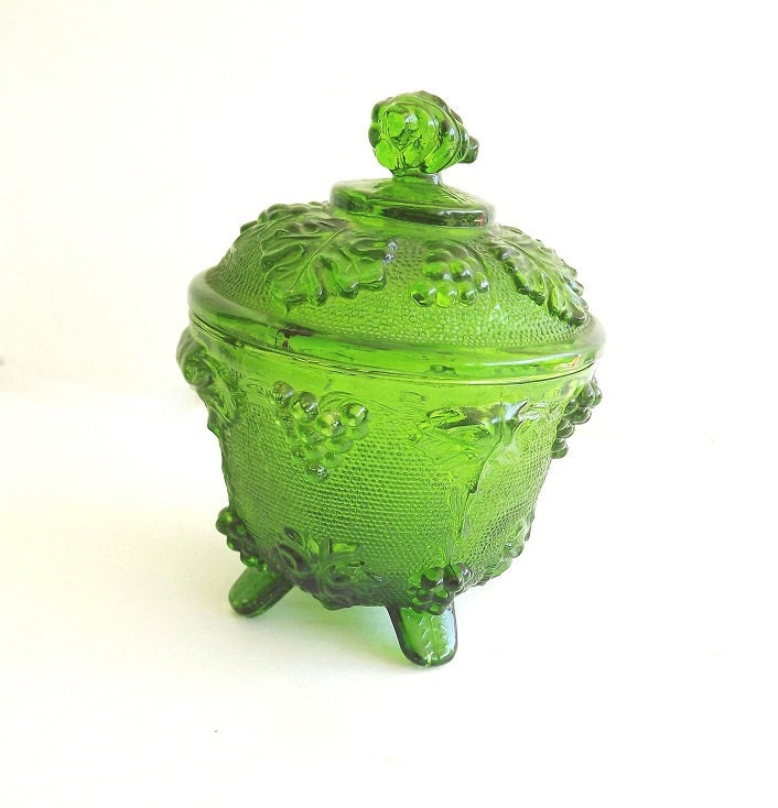 Antique Vintage Green Depression Sandwich Glass Collectible