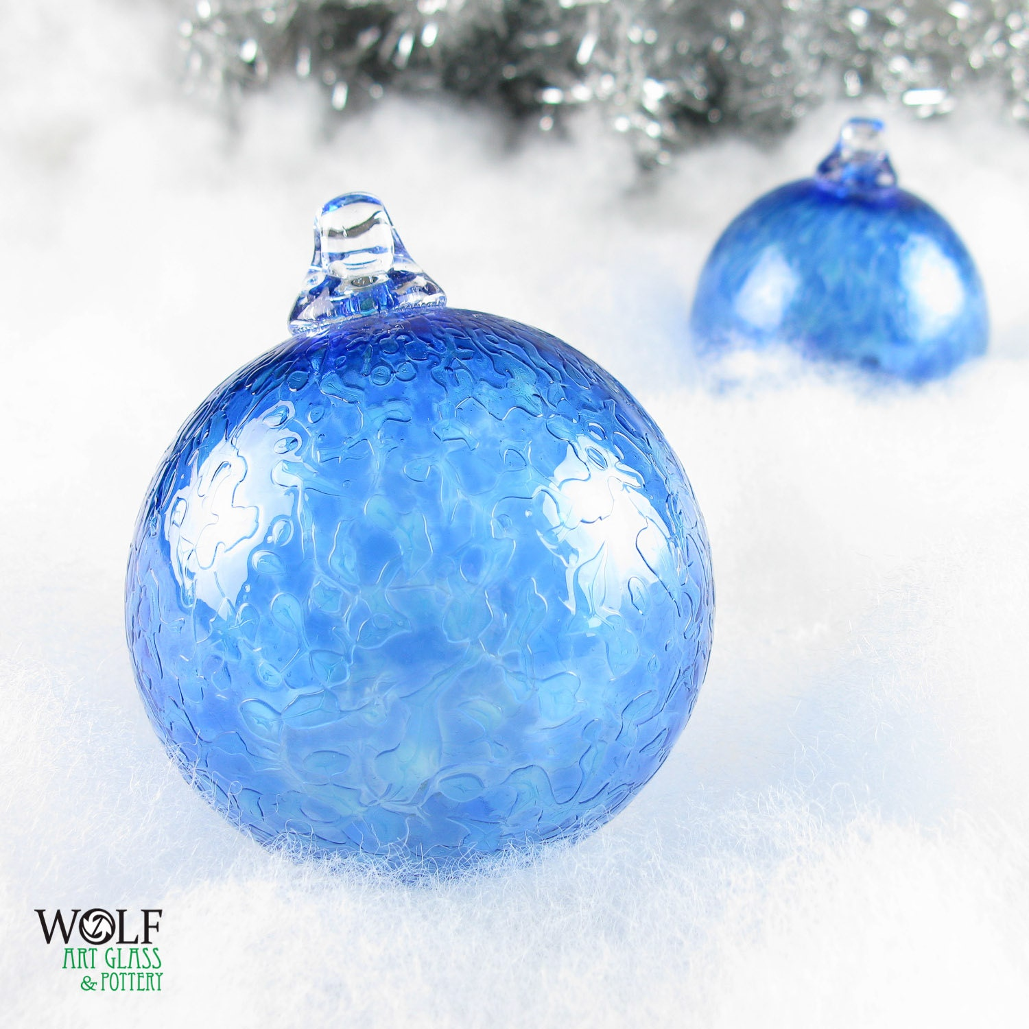 Blown glass holiday christmas tree ornament by wolfartglass for Holiday christmas ornaments