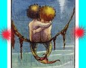 s427  VINTAGE BABY MERMAIDS Merbabies Postcard Print Mermaids Fabric  Applique for Quilting Quilts.