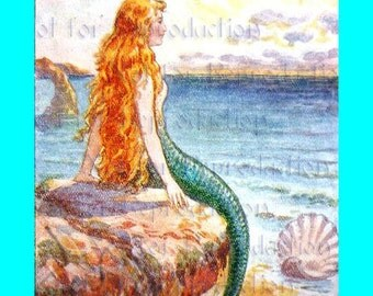 s487 Vintage The LITTLE MERMAID FABRIC Block Mermaid Print Illustration for Quilting.