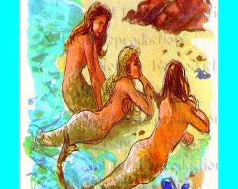 s491 Vintage Mermaids Illustrations Mermaids Fabric Quilt Blocks Print for Mermaids Quilting.
