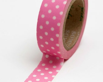 Washi Tape - 15mm - White Dots on Medium Pink - Deco Paper Tape  No. 712