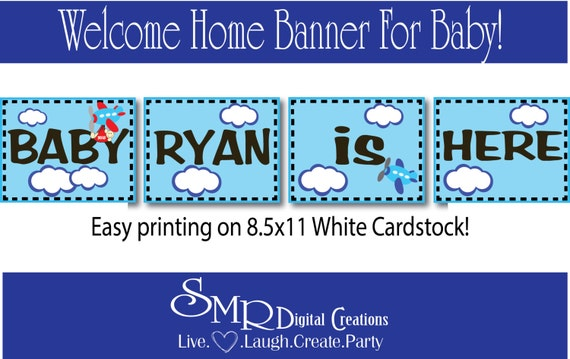 Items similar to Welcome Baby banner DIY Baby Boy ...