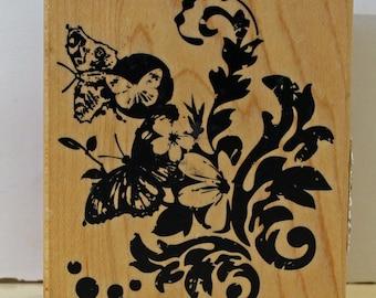 Butterflies Flowers Flourish Montage Rubber Stamp