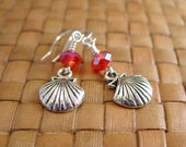 SALE:  Dark Pink Crystal and Scallop Sea Shell Charm Earrings - 80% Off