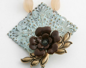Tea rose necklace brooch, Aqua Nectarine Chocolate, FREE SHIPPING