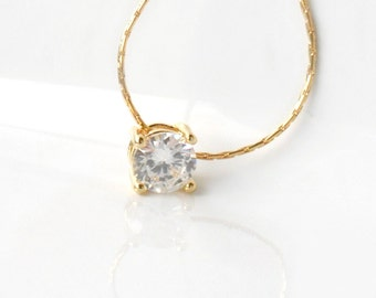 Solitaire / Gold Necklace / Cubic Zirconia / 14K gold chain /  everyday simple jewelry / bridal / minimalist / under 40