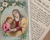 Antique Saint Anne Holy Card  Memorial Card and Prayer