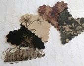 20 upcycled wallpaper scalloped hearts - noir