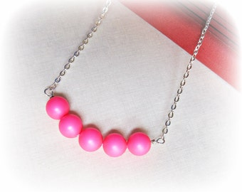 Neon Pink Bar Necklace Swarovski Crystal Pearl Silver Beaded. Fluoro Jewellery Fluorescent Summer Beach. Bright Modern Two Cheeky Monkeys