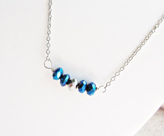 Metallic Beaded Bar Necklace Electric Blue Silver Jewellery by Two Cheeky Monkeys Jewelry Metal Monochrome Faceted Handmade For Her Modern