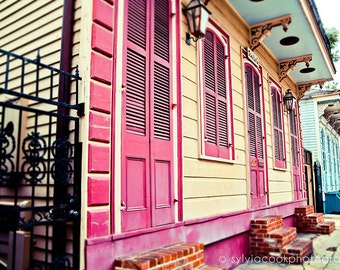 "New Orleans Photograph, ""Colorful houses"" Travel Photography, Colorful Pastel Houses, pink, yellow, aqua, French Quarter, architecture, NOLA"