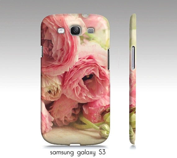 """Shabby chic flowers, S3, S4, S5 case, iphone4, 5, 6 case, """"First Bouquet"""", Ranunculus, floral, pink, pastel, girly case, flowers"""
