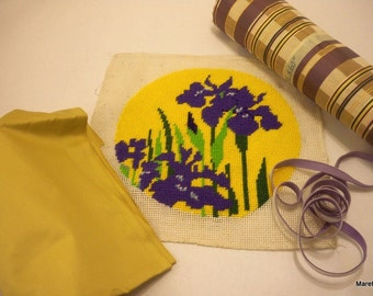 Siberian IRIS NEEDLEPOINT with decorator fabrics to make designer PILLOW or bag.
