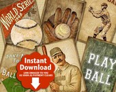 Take Me Out To The Ball Game / Baseball - Printable ATC, ACEO, Hang Tags, Instant Download and Print Digital Sheet