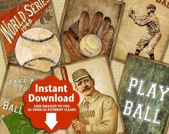 Take Me Out To The Ball Game / Baseball - Printable Hang Tags, Instant Download and Print Digital Collage Sheet