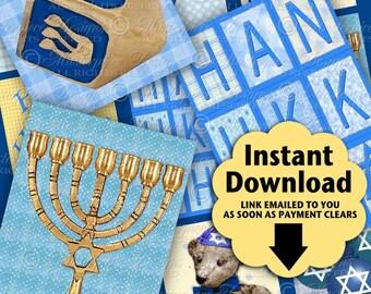 Celebrate Hanukkah Printable Hang Tags / Chanukah / Festival Of Lights / Jewish - Printable Gift Tags / Download and Print JPG Collage Sheet