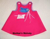 A-line Jumper,  Rose Kona Cotton or Corduroy with Bluebird and Name.  Made to Order.