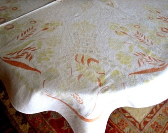 RETRO Vintage Print TABLECLOTH Sixties Kitchen Cloth Brown Flowers on LINEN