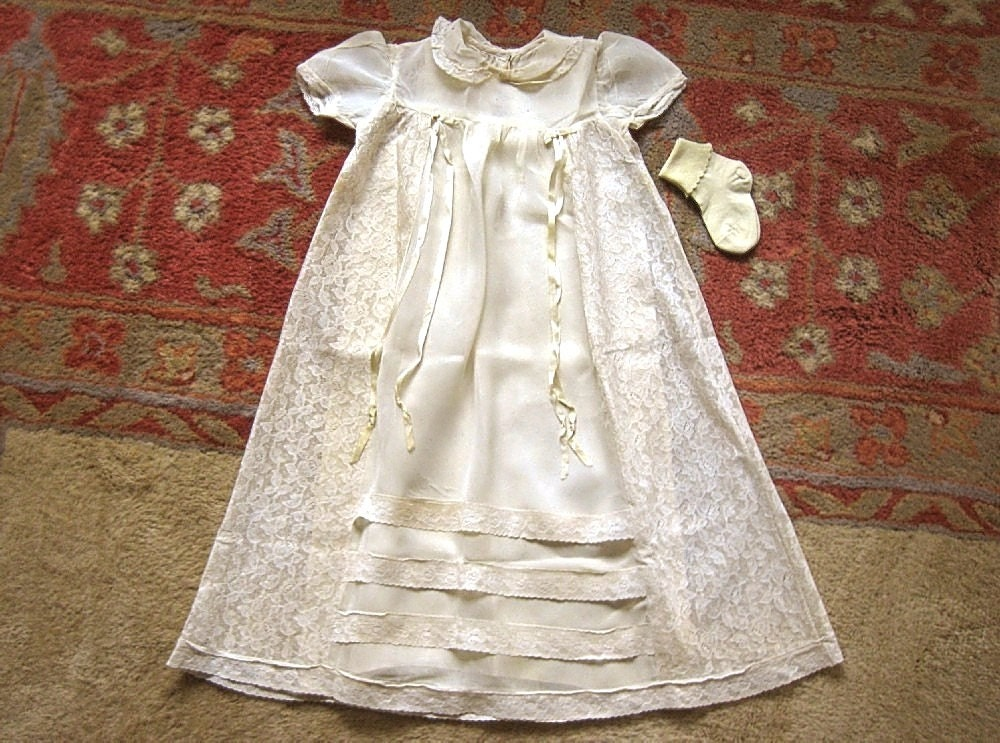 Baby Doll Infant Girls Vintage DRESS Antique f White Cream