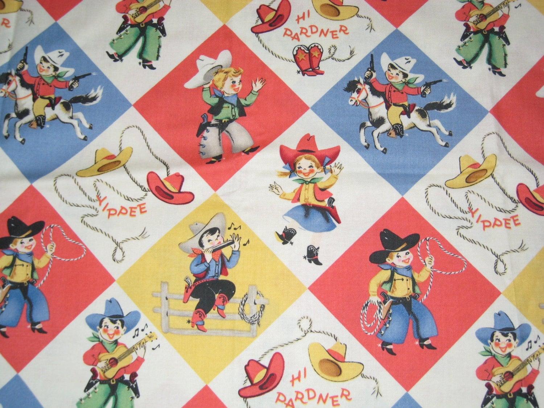 Retro cowboy kids fabric for Retro childrens fabric