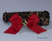 Cheetah with Red Bow Dog Collar Size XS through Large by Doogie Couture