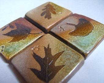 "Backsplash Accent Ceramic Tile Kitchen Bath Tile  1 3/4"" and larger sizes ""Change of Seasons"" glaze with tree leaves"