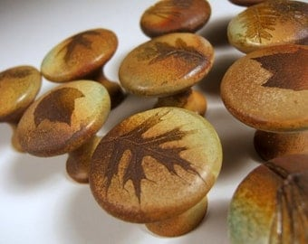 30 cabinet knobs FREE SHIPPING drawer pulls ceramic knobs with tree leaves in Change of Seasons Glaze