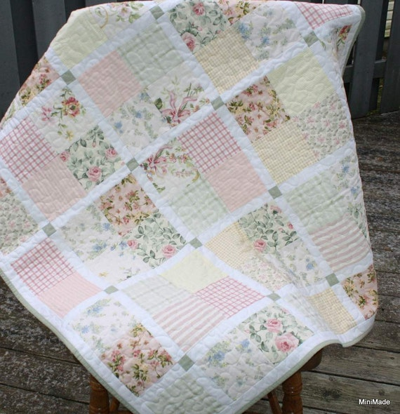 Modern Vintage Baby Or Lap Quilt Pastel Vintage Sheets And