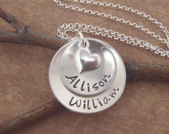 Mom necklace - Two name necklace - Layered Kids names - Sterling Silver Name Necklace - Photo NOT actual size