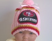 Hand made knit NFL Pink San Francisco 49ers Girls baby hat 0-12M-Cute for gift & Photos