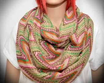 Light Infinity circle scarf multicolored chevron zig zag pattern - loop scarf - Forest