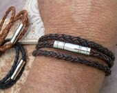Mens Triple Wrap Braided Leather Bracelet,  Stainless Steel,  Magnetic Clasp, Mens Jewelry, Mens Bracelet, Leather Bracelet