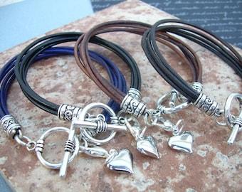 Heart Charm Leather Bracelet, Charm Bracelet, Heart, Womens Gift, Womens Bracelet, Womens Jewelry, Gift under 20, Teacher Gift